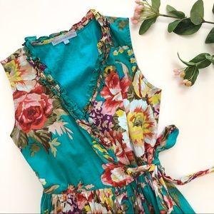 {Cupcakes & Pastries} vibrant, floral wrap dress